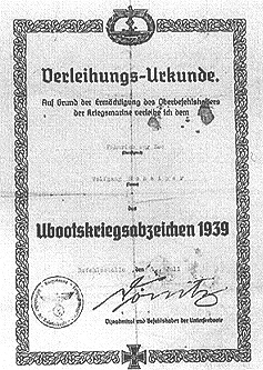 U-boat war badge document