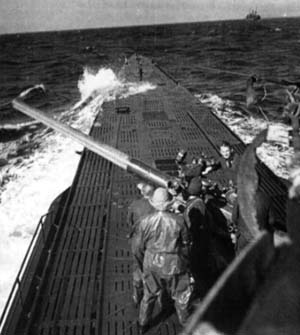 U-123 attacking with her deck gun